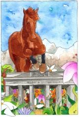 <h5>Geburtstagskarte</h5><p>Eine Geburtstagskarte der besonderen Art: Die Verbindung aus Pferden, Natur, den Bergen und Berlin in meine Bildsprache übersetzt.</p>