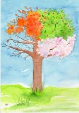 <h5>Kirschbaum</h5><p>Eine Auftragsarbeit, die einen Kirschbaum im Wandel der Jahreszeiten zeigt.</p>