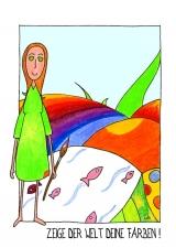 <h5>Zeige der Welt deine Farben!</h5><p>Ich bin eine ganz bunte Kleine Frau und die Welt soll wissen, wer ich bin und was ich kann! </p>
